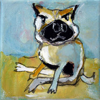 Malerei, Hund, Bonsai,