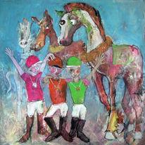 Pferdewette, Jockey, Cartoon, Illustration