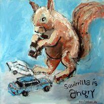 Zeichnung, Eichhörnchen, Karte, Geschenk