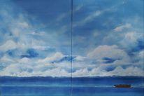 Wolken, Gebäude, Malerei,