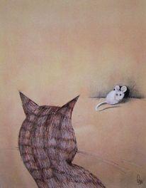 Zeichnungen, Katze, Maus