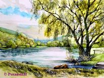 Fluss, Mainradweg, Main, Aquarell