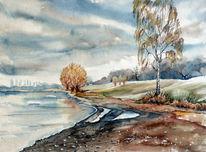 Aquarellmalerei, Albrechtshain, Beucha, Landschaft