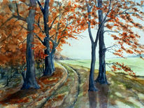 Aquarellmalerei, Dahlener, Heide, Herbst