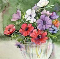 Aquarellmalerei, Blumen, Anemonen, Aquarell
