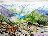 Berge, Geirangerfjord, Aquarell