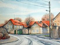 Dreiseitenhof, Bauernhof, Häuser, Aquarellmalerei