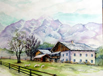 Berge, Bauernhof, Aquarell