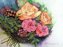 Blumen, Blumenstrauß, Aquarell