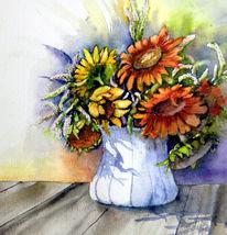 Aquarellmalerei, Blumen, Sonnenblumen, Aquarell