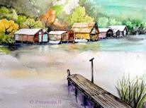 Bootshäuser, Mecklenburg, Wasserlandschaft, Aquarell