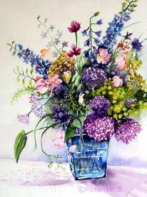 Blumen, Strauß, Blumenstrauß, Aquarell