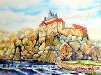 Burg, Sachsen, Aquarellmalerei, Architektur