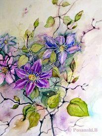 Blüte, Rankenpflanze, Aquarell, Aquarelle blumen