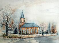 Kleinpösna, Aquarellmalerei, Dorfkirche, Kirche