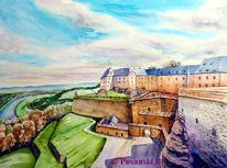 Festung, Königsstein, Elbsandsteingebirge, Aquarellmalerei