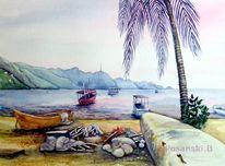 Aquarellmalerei, Boot, Fischerboot, Landschaft
