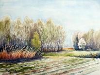 Frühlingslandschaft, Frühling, Aquarellmalerei, Landschaft