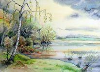Landschaft, See, Frühling, Beucha