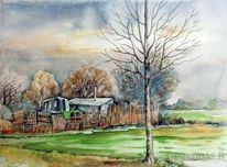 Landschaft, Garten, Laub, Aquarellmalerei