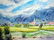 Aquarellmalerei, Landschaft, Gewitter, Fuchshain