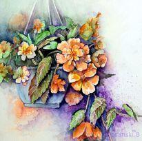 Blumen, Hängebelagonien, Aquarellmalerei, Aquarell