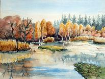 Moor, Aquarellmalerei, Dübener, Landschaft