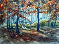 Aquarellmalerei, Landschaft, Heide, Herbst