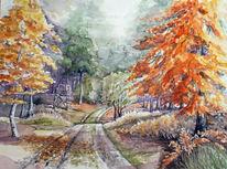 Herbst, Wald, Aquarellmalerei, Landschaft