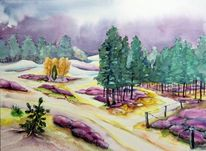Landschaft, Dünen, Wald, Aquarellmalerei