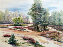 Ostsee, Aquarellmalerei, Landschaft, Wald
