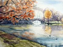 Herbst, Leipzig, Park, Aquarellmalerei