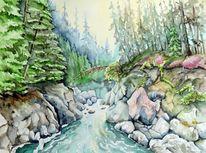 Landschaft, Kanada, Bach, Schlucht