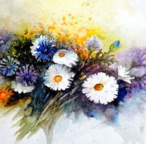 Blumen, Kornblumen, Aquarell
