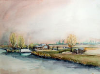Holland, Aquarellmalerei, Landschaft, Aquarell