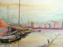 Schiff, Werft, Edam, Aquarellmalerei