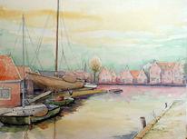 Werft, Aquarellmalerei, Edam, Holland