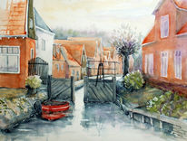 Holland, Gracht, Aquarellmalerei, Landschaft