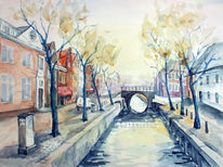 Landschaft, Straße, Holland, Straßenansicht