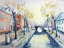 Holland, Straßenansicht, Aquarellmalerei, Landschaft