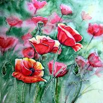 Gegenlicht, Blumen, Aquarellmalerei, Mohn