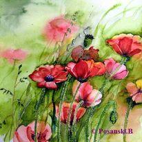 Blumen, Mohn, Aquarell,