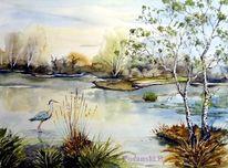 Moor, Landschaftsmalerei, Aquarell