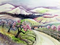 Obstbaumblüte, Aquarellmalerei, Landschaft, Aquarell