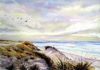 Meer, Strand, Strandlandschaft, Aquarell