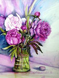 Pfingstrosen, Blumen, Strauß, Aquarell