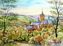 Schloss, Wernigerode, Harz, Aquarell