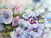 Blumen, Aquarellmalerei, Stiefmütterchen, Aquarell