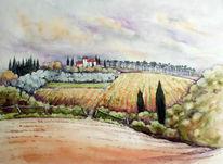 Toskana, Aquarellmalerei, Aquarell,