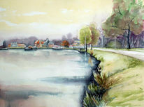 Deich, Aquarellmalerei, Holland, Landschaft